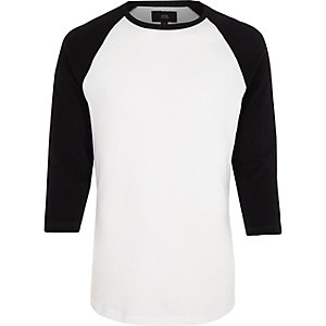 Black three quarter raglan sleeve T-shirt