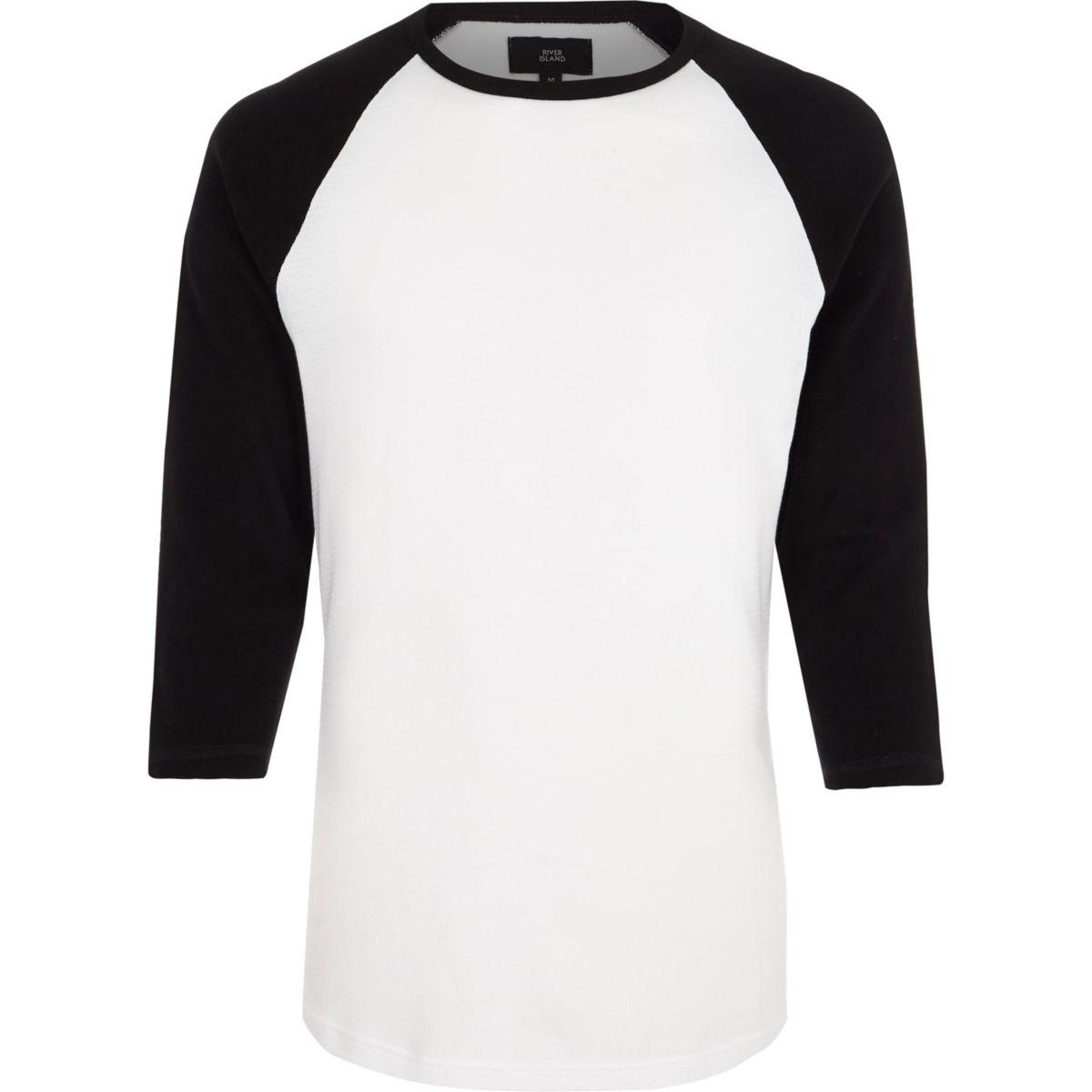 Black three quarter raglan sleeve T-shirt