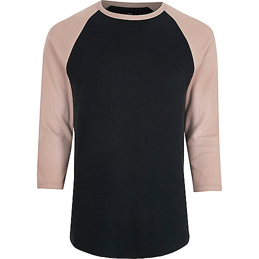 Pink raglan sleeve slim fit T-shirt