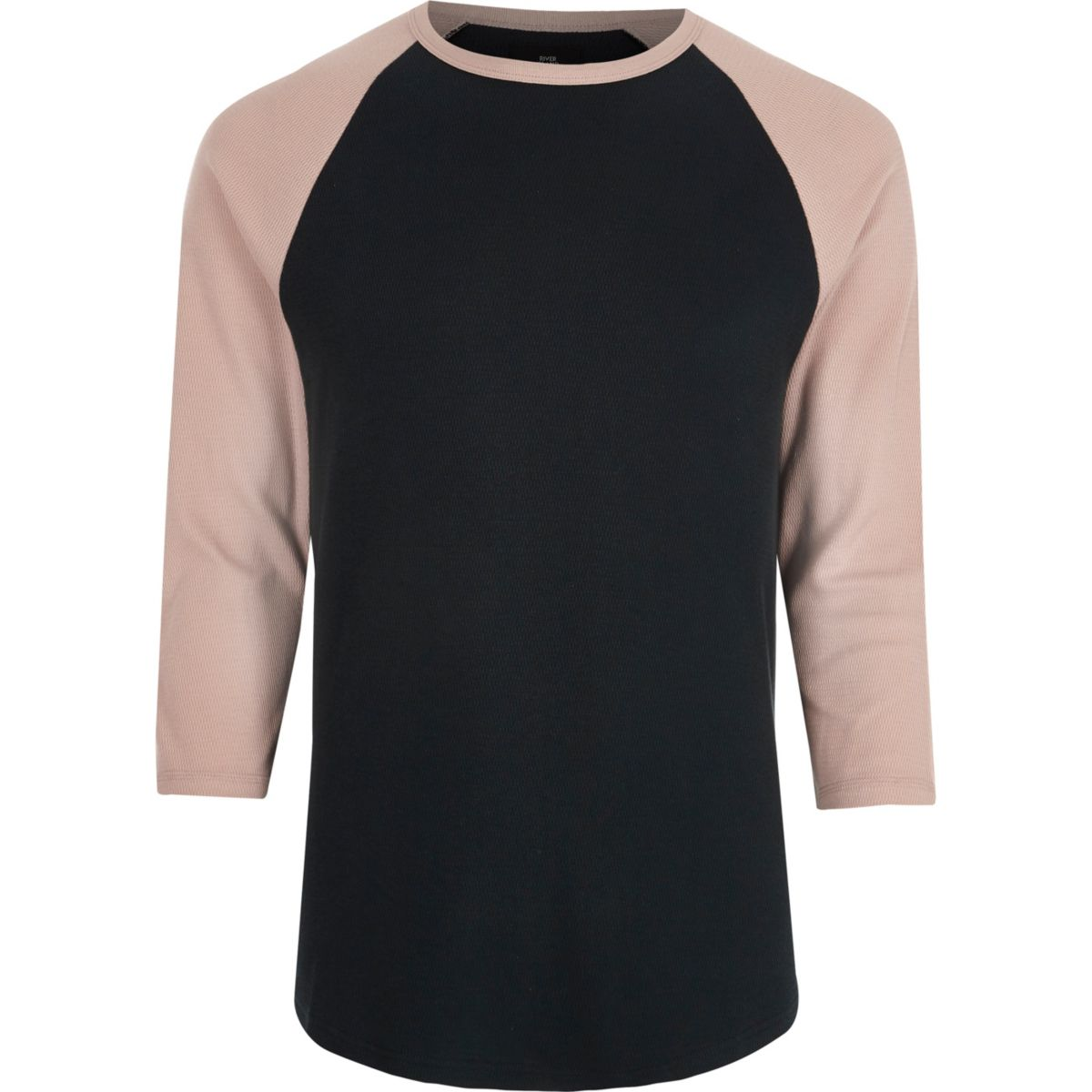 Pink three quarter raglan sleeve T-shirt