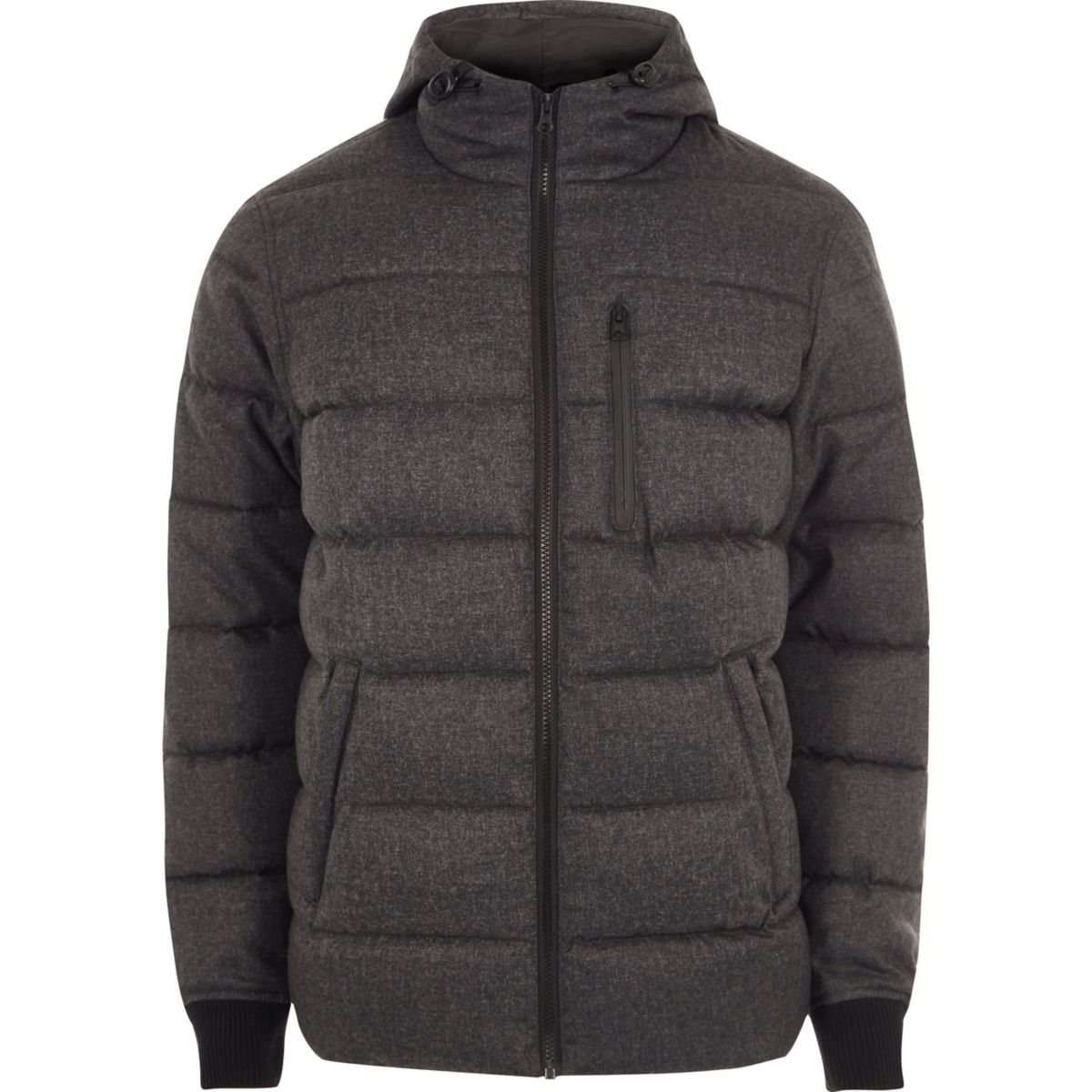 Grey hooded puffer jacket - Jackets - Coats & Jackets - men