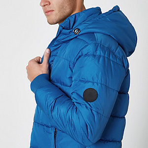 Blue hooded puffer jacket