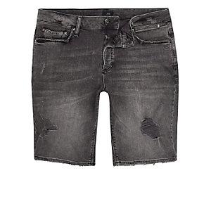 Short en jean skinny noir délavé usé
