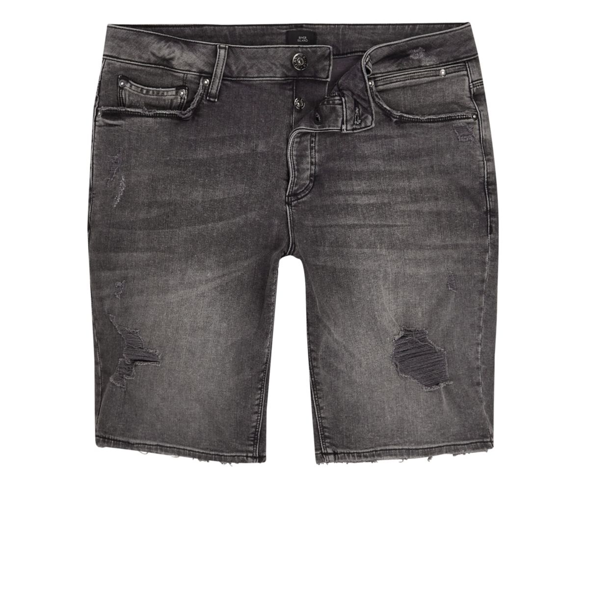 Washed black distressed skinny denim shorts