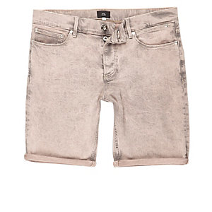 Peach acid wash skinny denim shorts