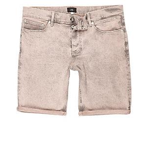 Short en jean skinny pêche délavé à l'acide
