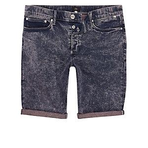 Skinny Jeansshorts in Pink und Blau