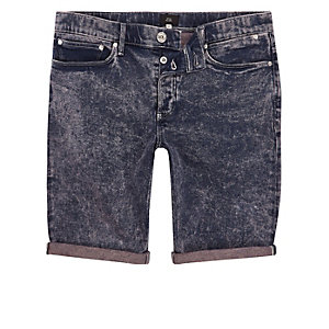 Pink and blue acid wash skinny denim shorts