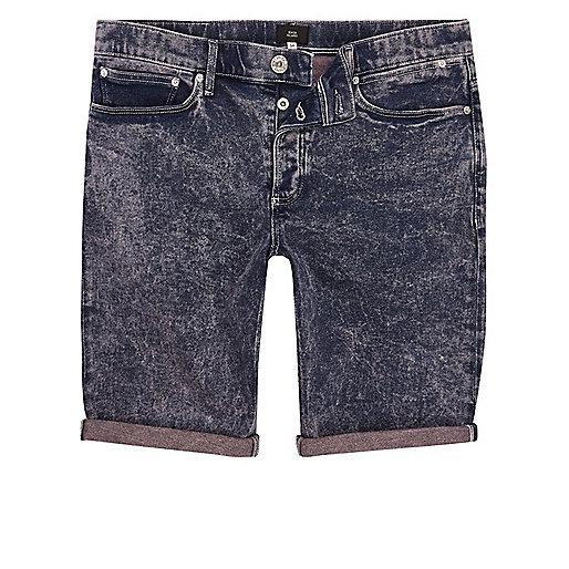 Pink and blue acid wash skinny denim shorts