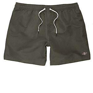 Khaki green swim shorts