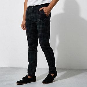 Pantalon à carreaux bleu foncé surteint