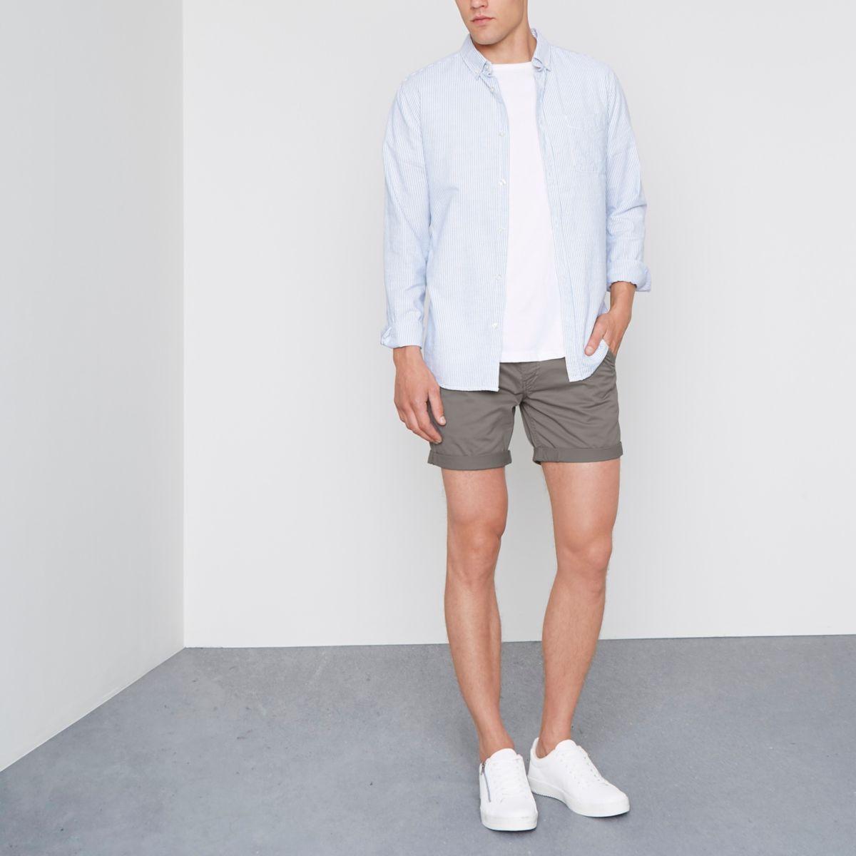 Grey rolled hem chino shorts