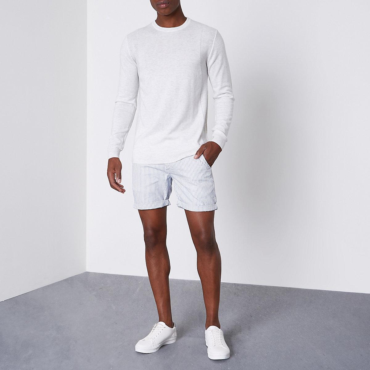 Blue stripe chino shorts
