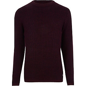 Muscle Fit Strickpullover in Bordeaux