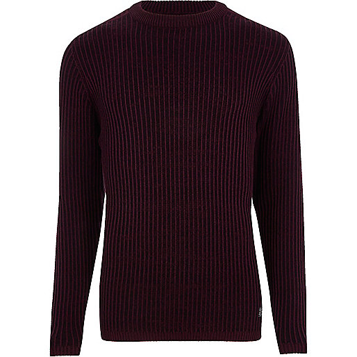 Burdundy ribbed muscle fit knit sweater