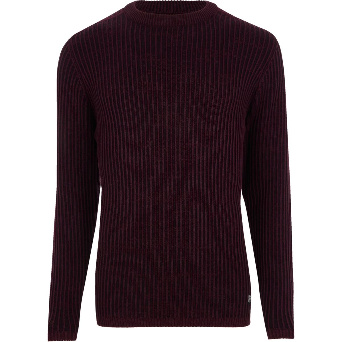 Burgundy ribbed muscle fit knit jumper