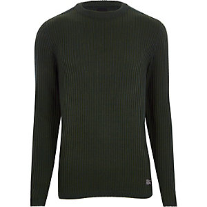 Dark green ribbed muscle fit jumper