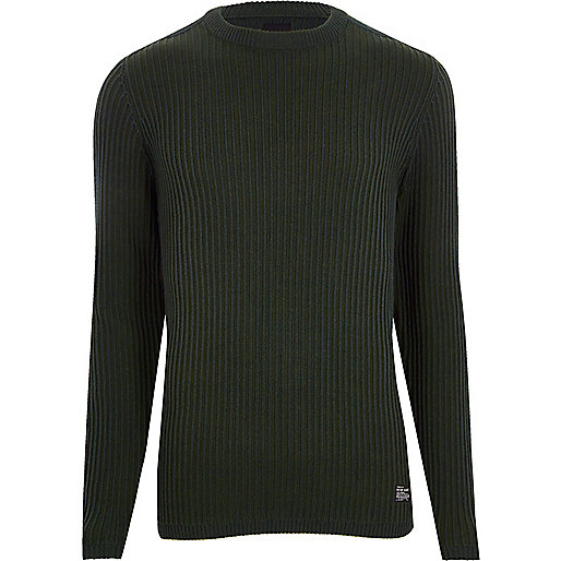 Dark green ribbed muscle fit sweater
