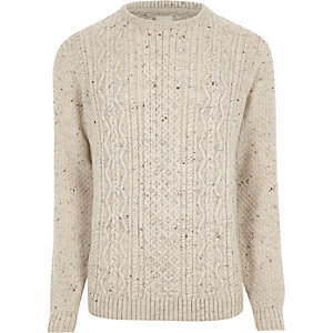 Cream flecked cable knit sweater