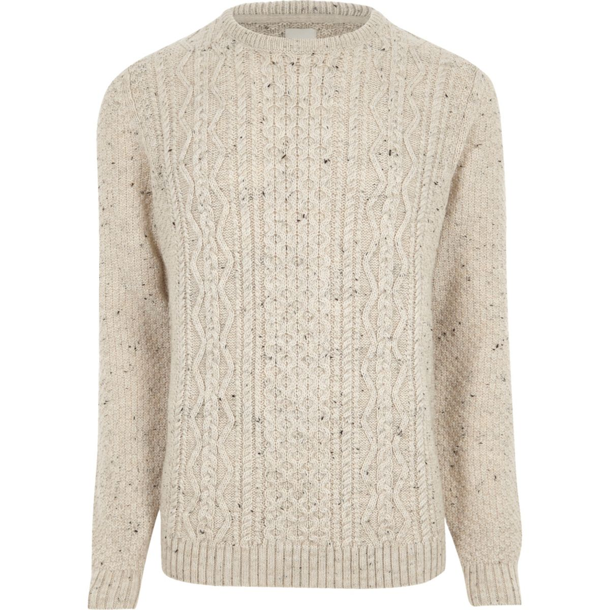 Cream flecked cable knit sweater - Sweaters & Cardigans - Sale - men