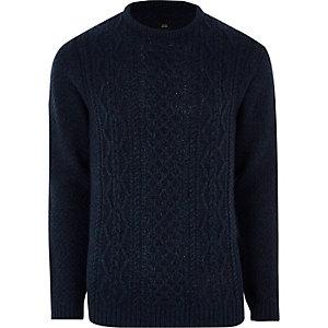 Marineblauer Pullover mit Zopfmuster
