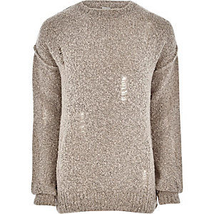 Steingrauer Pullover im Used-Look