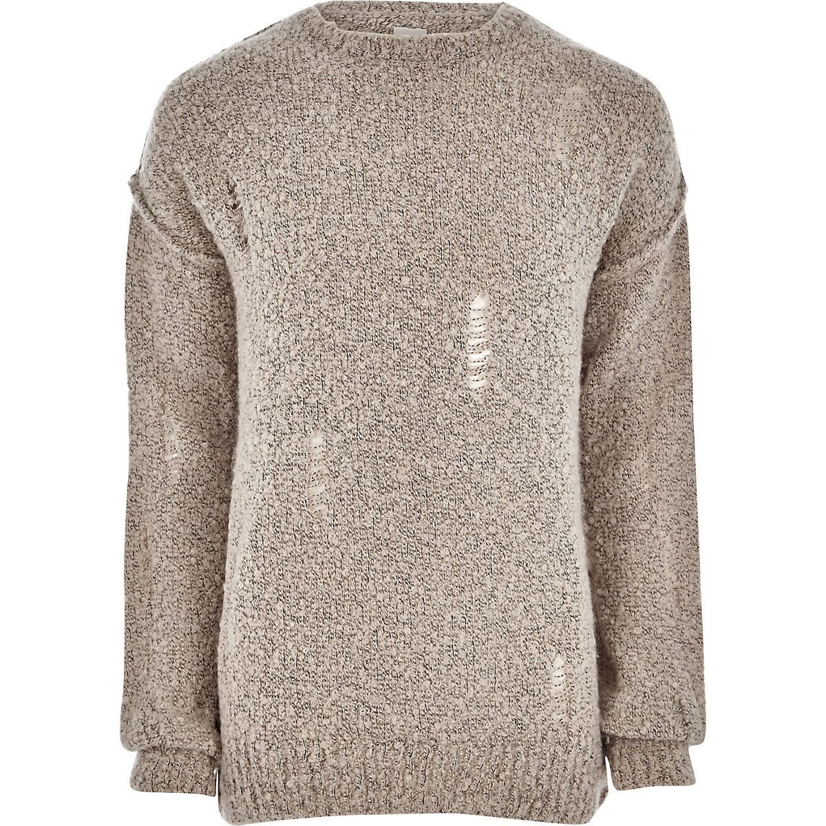 Stone boucle knit distressed jumper