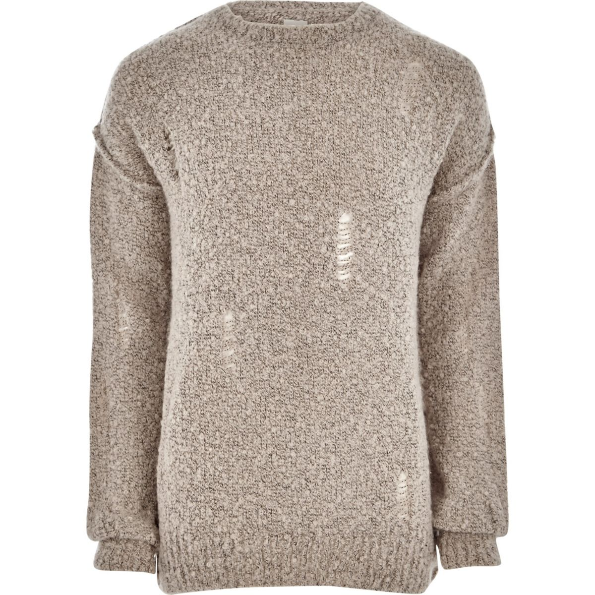 Stone boucle knit distressed sweater