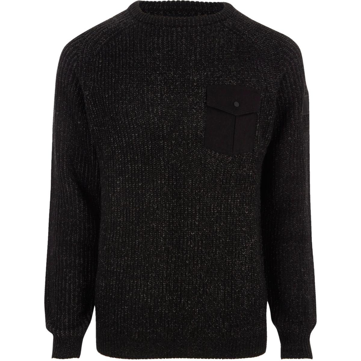 Dark grey chest pocket ribbed knit jumper
