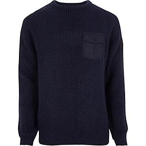 Navy chest patch pocket ribbed knit jumper