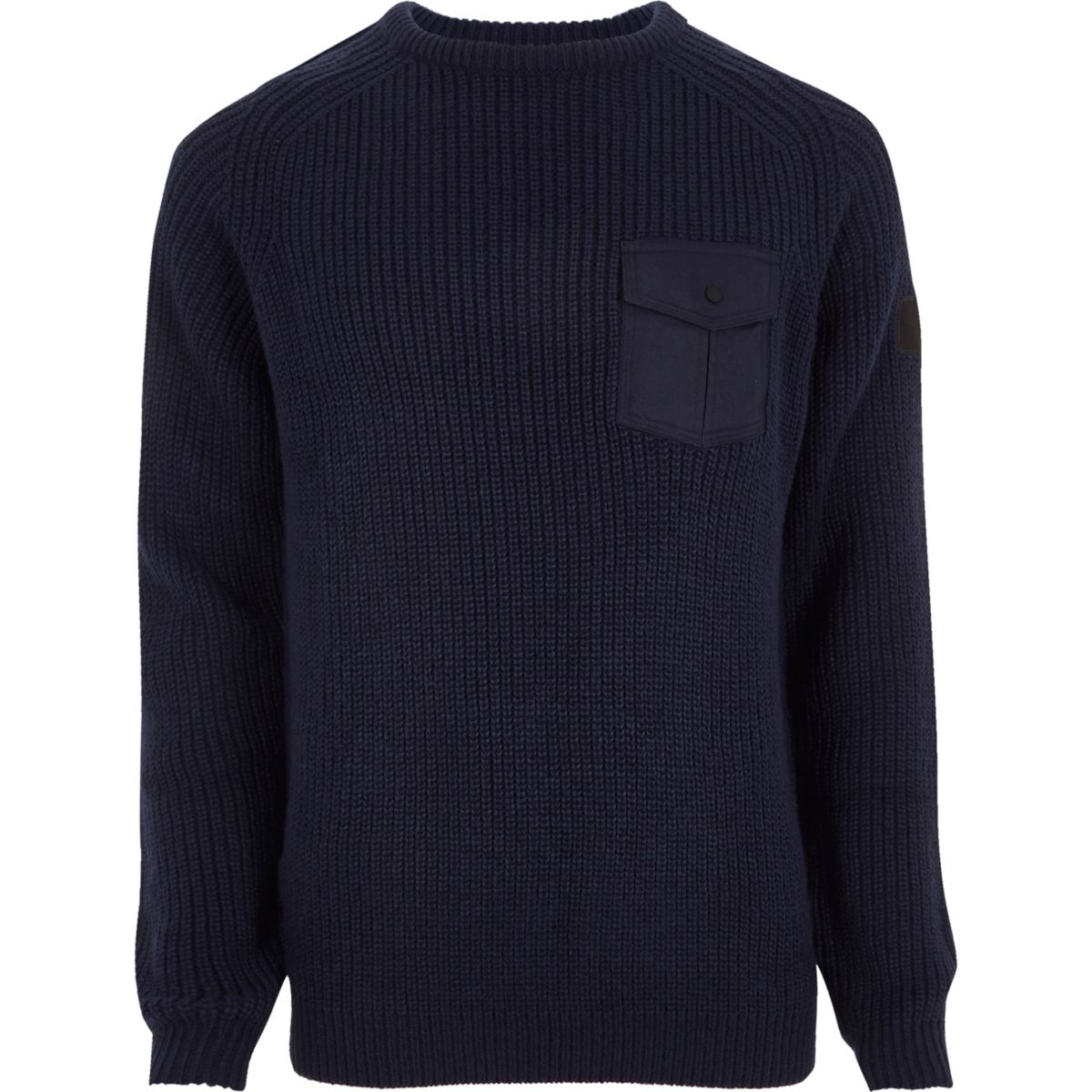 Navy chest patch pocket ribbed knit sweater
