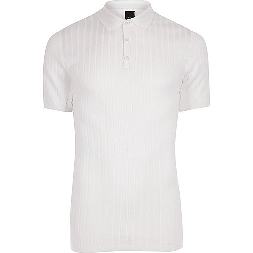 White chunky rib knit muscle fit polo shirt