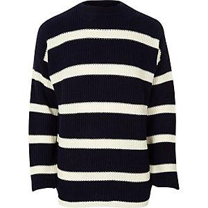 Marineblauer Oversized-Pullover mit Streifen