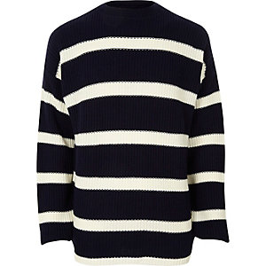 Navy stripe oversized fisherman sweater