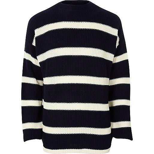 Navy stripe oversized fisherman sweater