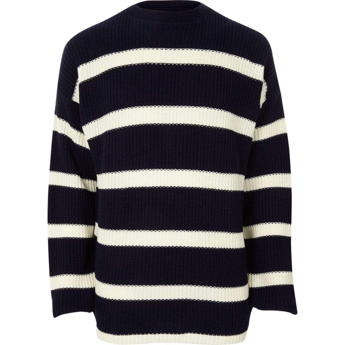 Navy stripe oversized fisherman jumper