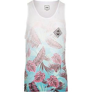 White tropical floral fade print vest