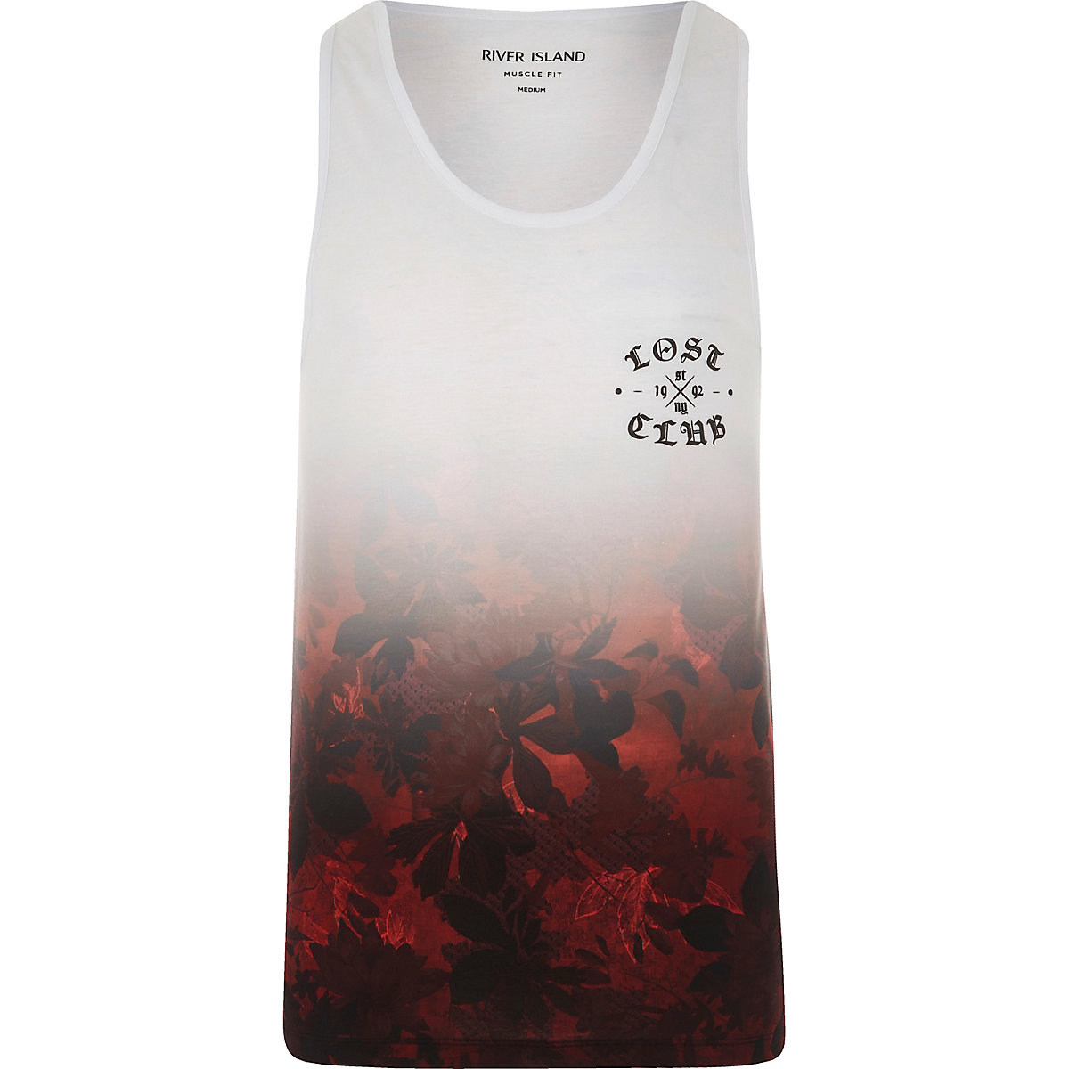 White and red hawaiian fade muscle fit vest