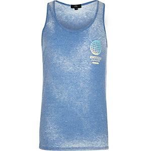 Blue 'New World' print vest