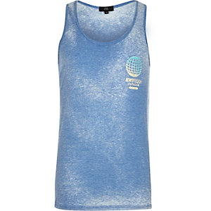 Blue 'New World' print tank