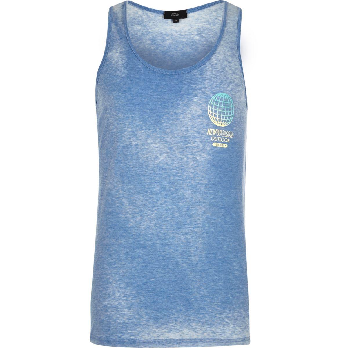 Blauw hemdje met 'New World'-print