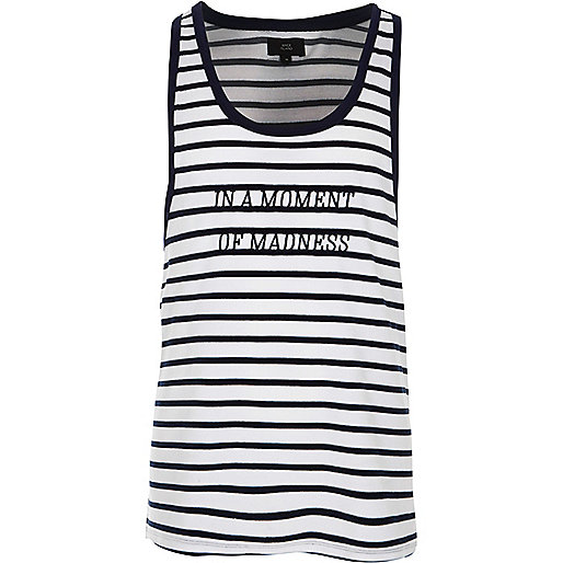 Cream and navy stripe slim fit velour tank