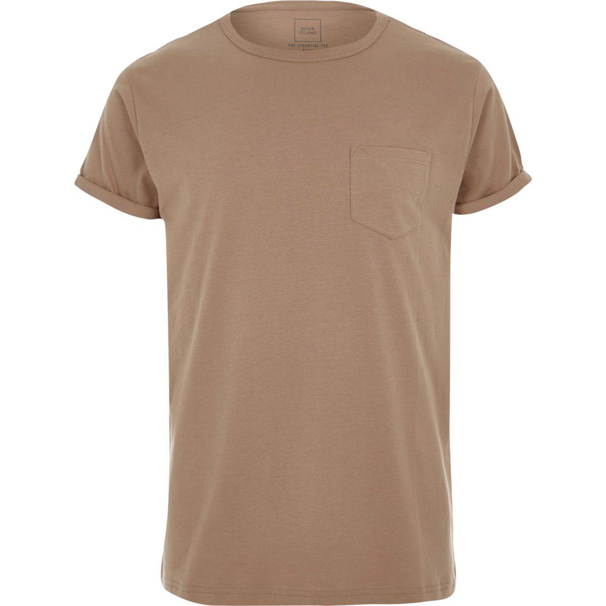 Camel rolled sleeve pocket T-shirt