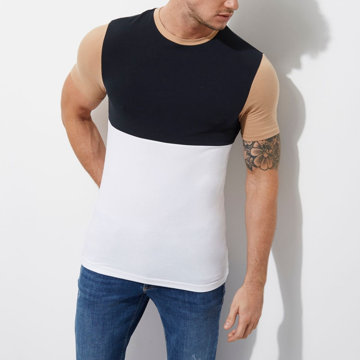 White and navy colour block muscle T-shirt