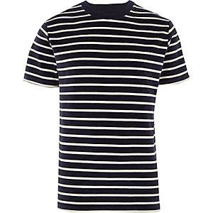 T-shirt en velours rayé bleu marine à col ras du cou