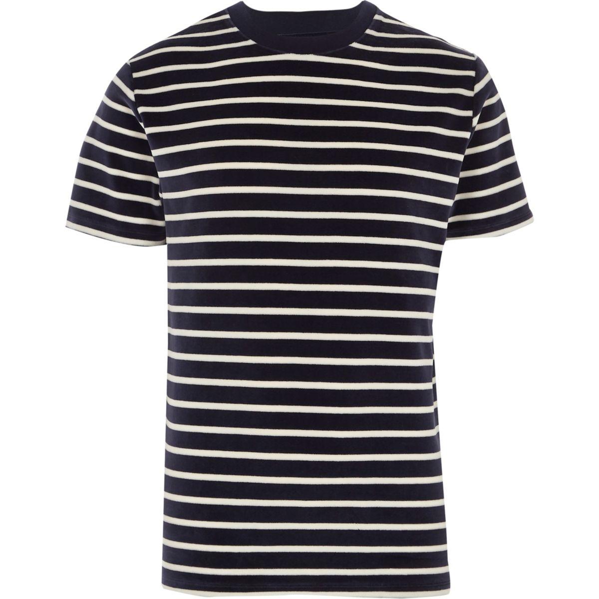 Navy stripe velour crew neck T-shirt