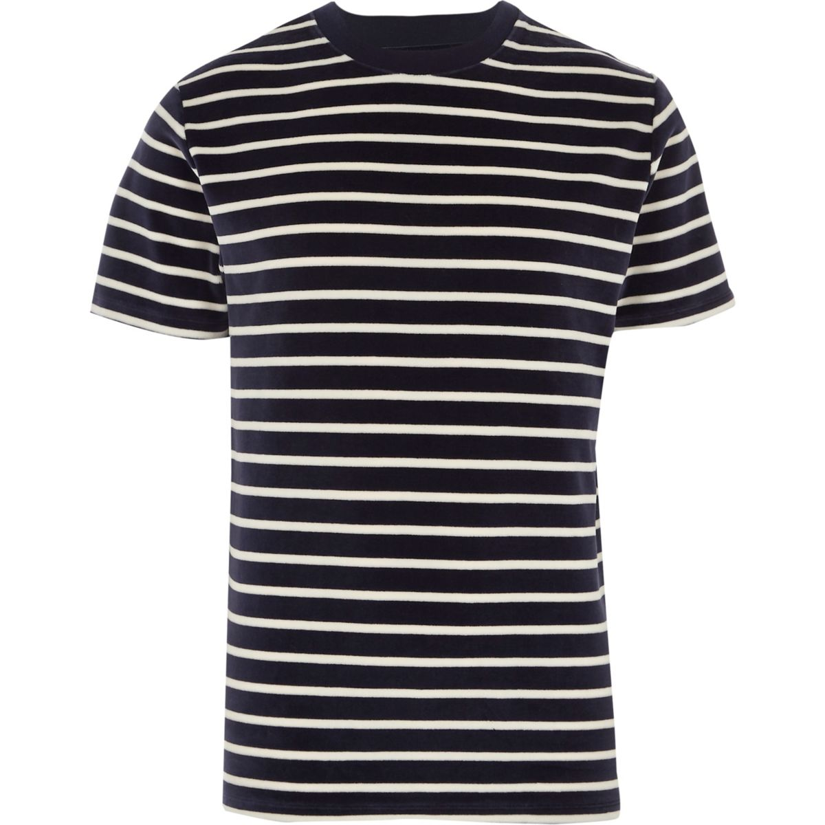 Navy stripe velour crew neck T-shirt