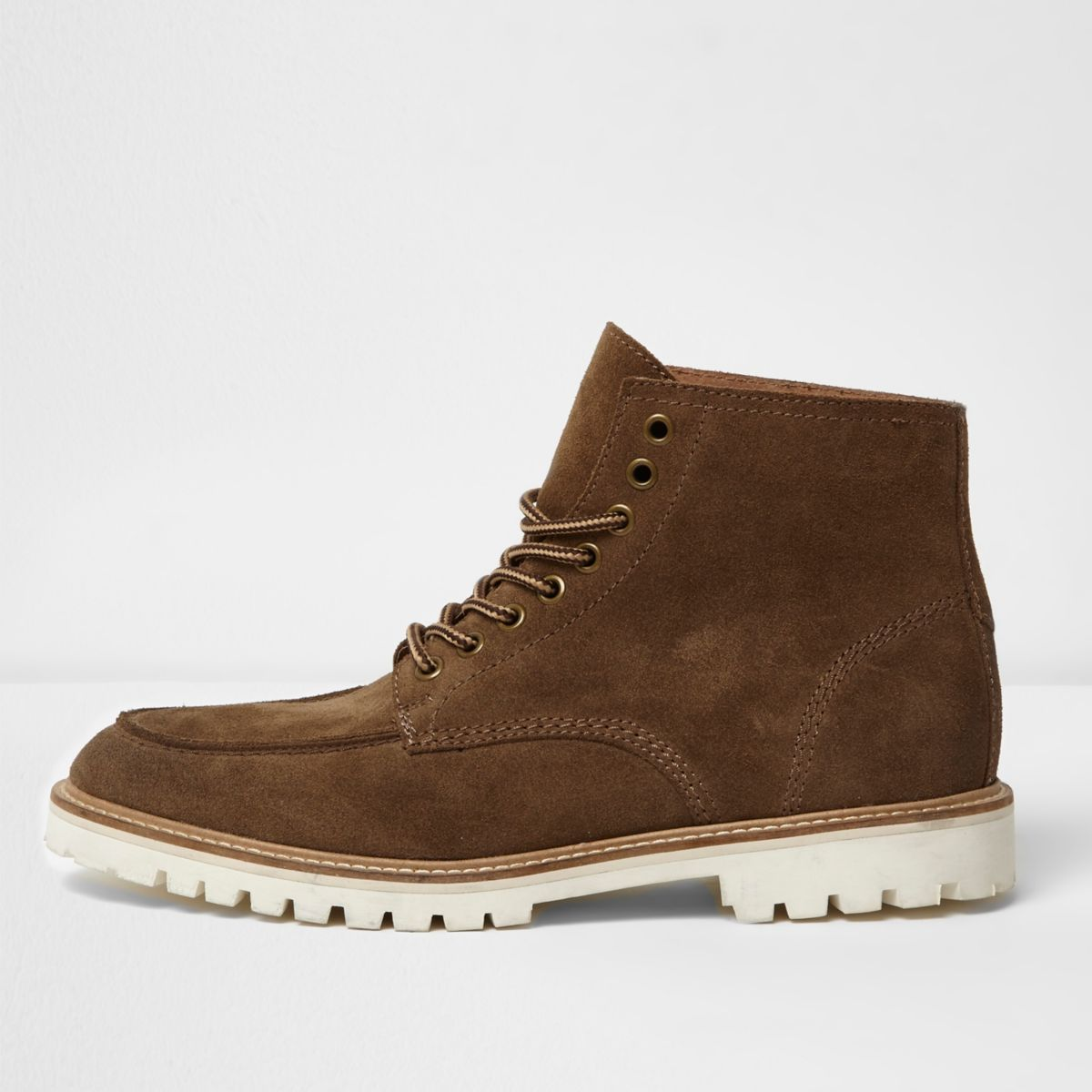 Brown suede cleated sole work boots