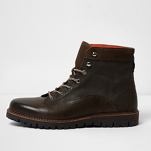 Dark green and brown mixed texture work boots