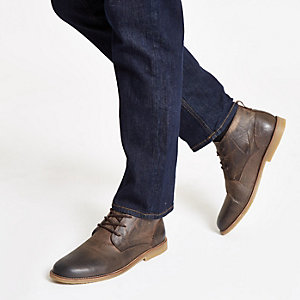 Bottines chukka en cuir marron